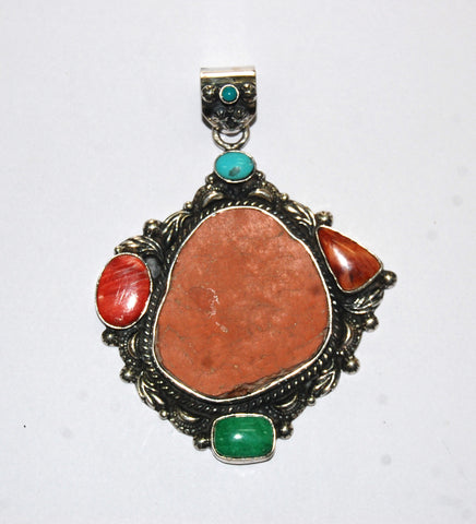 Ancient Ones Rust | Sterling Silver Pendant With Spiny Oyster, Turquoise & Artifact - Native Marvels