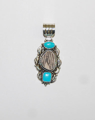 Ancient Ones Cana | Sterling Silver Pendant With Turquoise & Artifact - Native Marvels