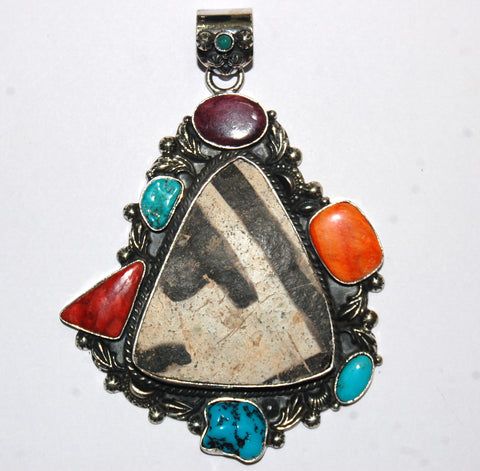Ancient Ones Frontera | Sterling Silver Pendant With Spiny Oyster, Turquoise & Artifact - Native Marvels