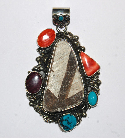 Ancient Ones Rio | Sterling Silver Pendant With Spiny Oyster, Turquoise & Artifact - Native Marvels