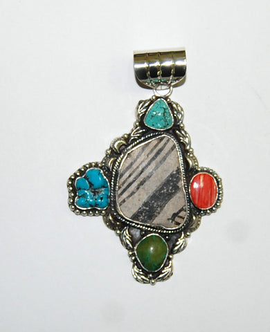 Ancient Ones Mountain | Sterling Silver Pendant With Spiny Oyster, Turquoise & Artifact - Native Marvels