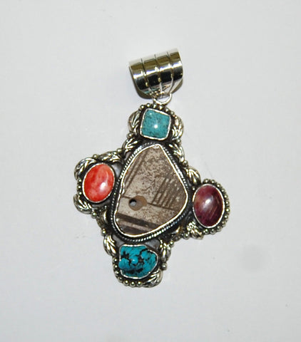 Ancient Ones Midnight | Sterling Silver Pendant With Spiny Oyster, Turquoise & Artifact - Native Marvels