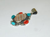 Ancient Ones Rueda | Sterling Silver Pendant With Spiny Oyster, Turquoise & Artifact - Native Marvels