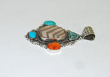 Ancient Ones Quatro | Sterling Silver Pendant With Spiny Oyster, Turquoise & Artifact - Native Marvels