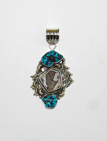 Ancient Ones Pisces | Sterling Silver Pendant With Turquoise & Artifact - Native Marvels