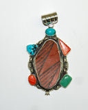 Ancient Ones Roja | Sterling Silver Pendant With Spiny Oyster, Turquoise & Artifact - Native Marvels