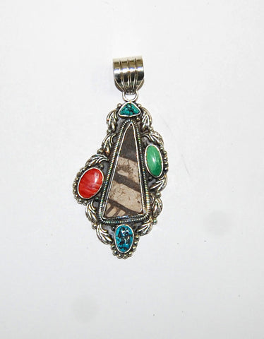 Ancient Ones Obelisk | Sterling Silver Pendant With Spiny Oyster, Turquoise & Artifact - Native Marvels
