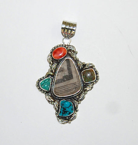 Ancient Ones Elements | Sterling Silver Pendant With Spiny Oyster, Turquoise & Artifact - Native Marvels