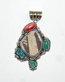 Ancient Ones Meadows | Sterling Silver Pendant With Spiny Oyster, Turquoise & Artifact - Native Marvels