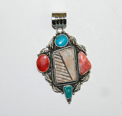 Ancient Ones Dagger | Sterling Silver Pendant With Spiny Oyster, Turquoise & Artifact - Native Marvels