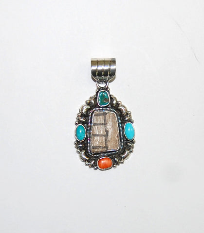 Ancient Ones Cruz | Sterling Silver Pendant With Turquoise, Spiny Oyster & Artifact - Native Marvels