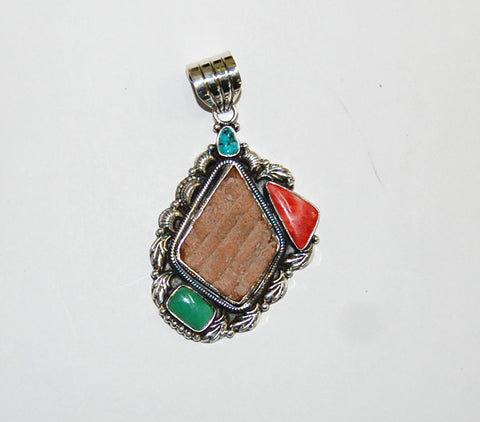 Ancient Ones Mosaic | Sterling Silver Pendant With Spiny Oyster, Turquoise & Artifact - Native Marvels