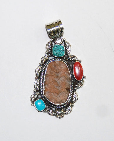 Ancient Ones Earth | Sterling Silver Pendant With Spiny Oyster, Turquoise & Artifact - Native Marvels