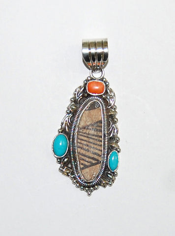 Ancient Ones Oblong | Sterling Silver Pendant With Spiny Oyster, Turquoise & Artifact - Native Marvels