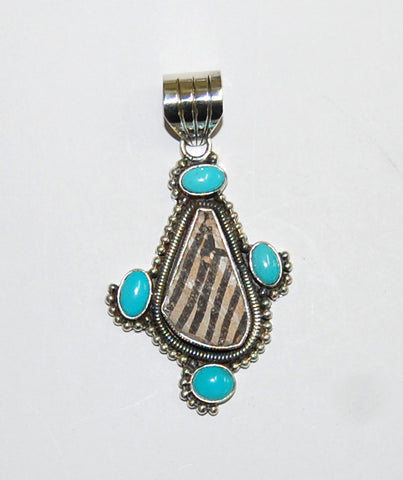 Ancient Ones Eagle | Sterling Silver Pendant With Turquoise & Artifact - Native Marvels