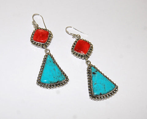 Gotas Nativos | Sterling Silver Earrings With Spiny Oyster & Turquoise - Native Marvels