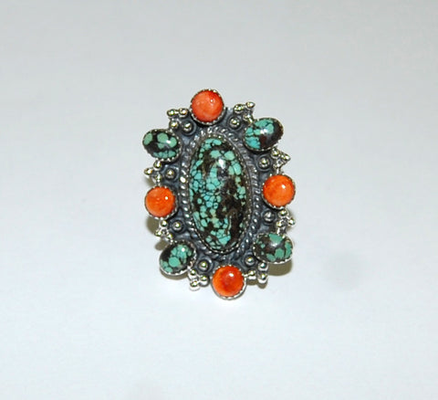 Four Directions | Sterling Silver Ring With Turquoise & Spiny Oyster - Native Marvels