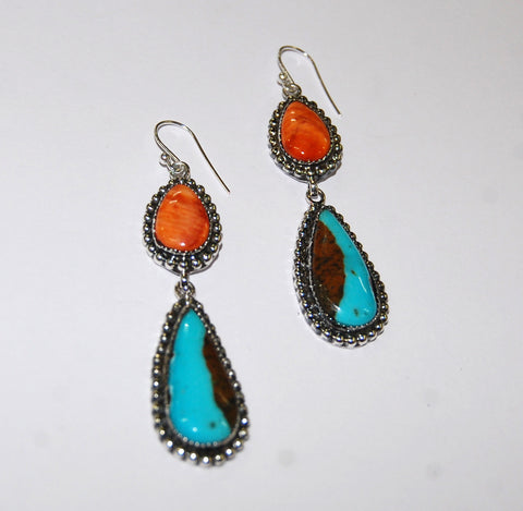 Gotas Rodeo | Sterling Silver Earrings With Spiny Oyster & Turquoise - Native Marvels