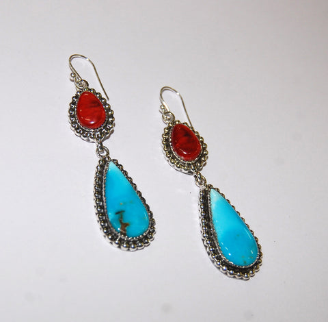Gotas Fresca | Sterling Silver Earrings With Spiny Oyster & Turquoise - Native Marvels