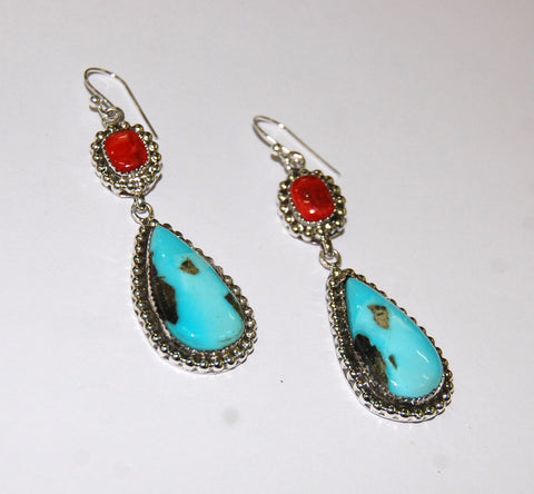 Gotas Tropical | Sterling Silver Earrings With Spiny Oyster & Turquoise - Native Marvels