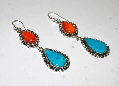Gotas Southwest | Sterling Silver Earrings With Spiny Oyster & Turquoise - Native Marvels