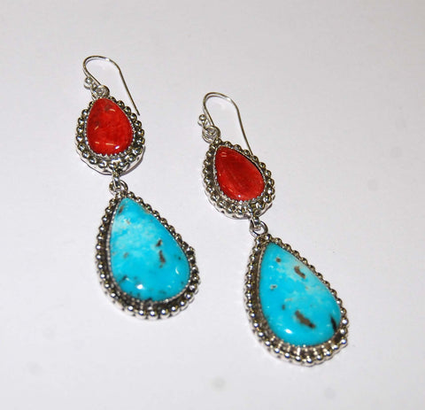 Gotas Mojo | Sterling Silver Earrings With Spiny Oyster & Turquoise - Native Marvels