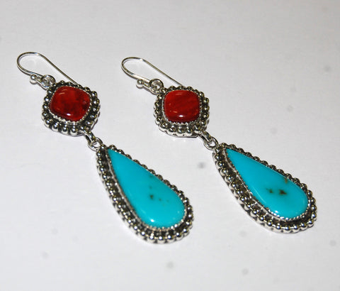 Gotas Rocca | Sterling Silver Earrings With Spiny Oyster & Turquoise - Native Marvels
