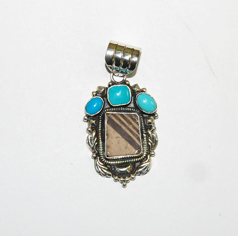 Ancient Ones Corona | Sterling Silver Pendant With Turquoise & Artifact - Native Marvels