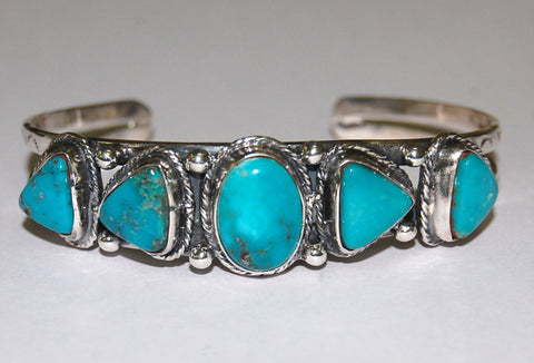 Collar Tooth | Sterling Silver Cuff With Turquoise - Native Marvels