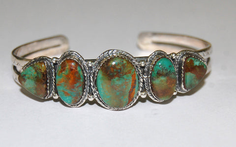 Collar Rock | Sterling Silver Cuff With Turquoise - Native Marvels