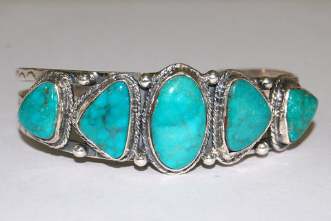 Collar Stone | Sterling Silver Cuff With Turquoise - Native Marvels