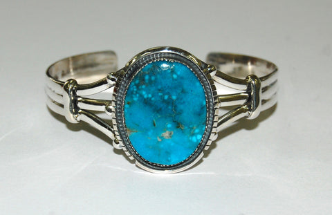 Banded Skies | Sterling Silver Cuff With Turquoise - Native Marvels