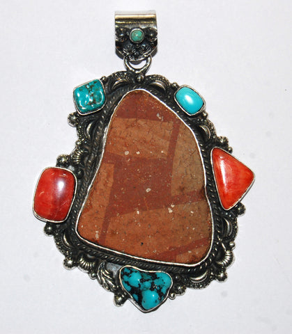 Ancient Ones Layers | Sterling Silver Pendant With Spiny Oyster, Turquoise & Artifact - Native Marvels