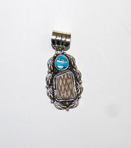 Ancient Ones Moon | Sterling Silver Pendant With Turquoise & Artifact - Native Marvels