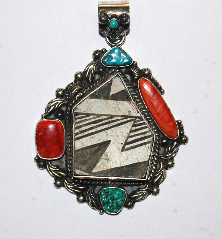 Ancient Ones Askew | Sterling Silver Pendant With Spiny Oyster, Turquoise & Artifact - Native Marvels