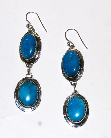 Feather Dos | Sterling Silver Earrings With Turquoise - Native Marvels