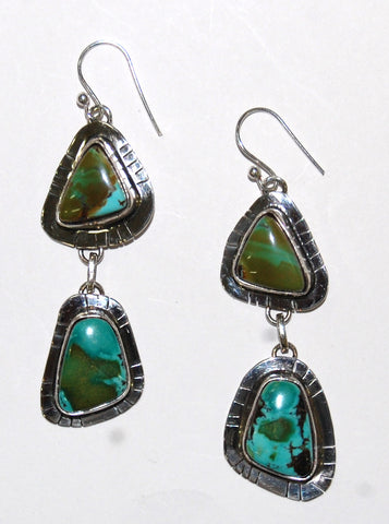 Feather Mountain | Sterling Silver Earrings With Turquoise - Native Marvels