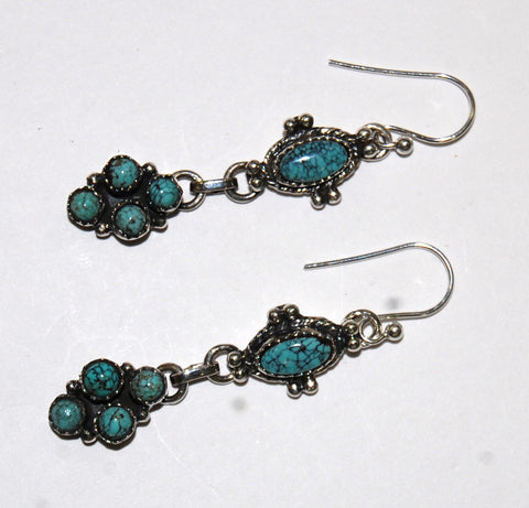 Victorian Crackle | Sterling Silver Earrings With Turquoise - Native Marvels