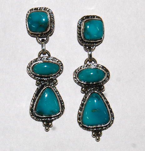 Surrealistically Deep | Sterling Silver Earrings With Turquoise - Native Marvels