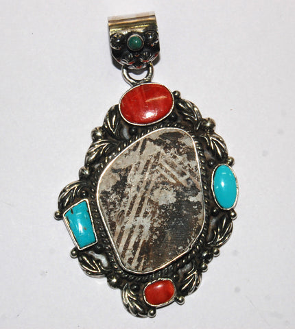 Ancient Ones Life | Sterling Silver Pendant With Spiny Oyster, Turquoise & Artifact - Native Marvels