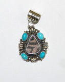 Ancient Ones Axis | Sterling Silver Pendant With Turquoise & Artifact - Native Marvels