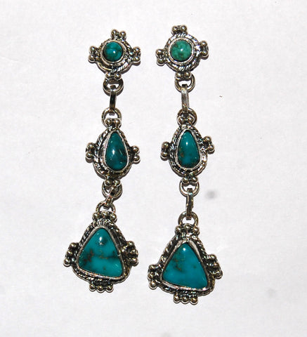 Drop It Blue Matter | Sterling Silver Earrings With Turquoise - Native Marvels