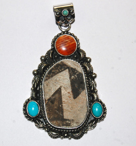 Ancient Ones Pyramid | Sterling Silver Pendant With Spiny Oyster, Turquoise & Artifact - Native Marvels