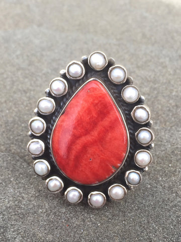 Antique Chic | Sterling Silver Ring With Spiny Oyster & Pearl - Native Marvels