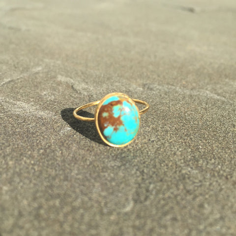 Aswan | Gold Overlay Sterling Silver And Turquoise Ring - Native Marvels