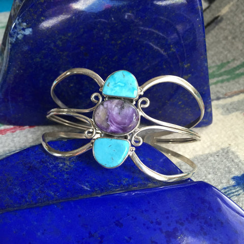 Aquarius | Sterling Silver Arm Cuff With Turquoise & Charoite - Native Marvels
