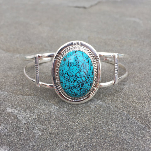 Atlas | Sterling Silver Cuff Bracelet With Turquoise - Native Marvels