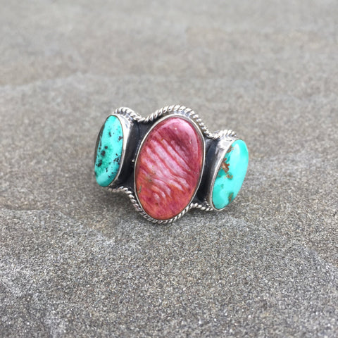 Balance Water | Sterling Silver Ring With Spiny Oyster Shell & Turquoise - Native Marvels