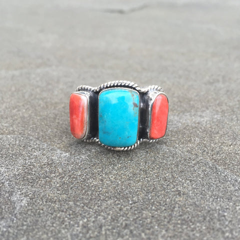 Balance Fire | Sterling Silver Ring With Turquoise & Spiny Oyster - Native Marvels