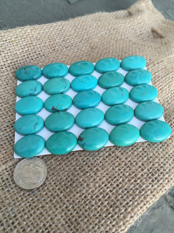Natural Turquoise Cabochon, Calibrated Lot of 25 Stones, 18X14mm - Native Marvels